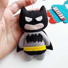 Felt Batman hanging ornament  superhero by MiracleInspiration