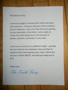 Parenting win. Toorhfairy letter