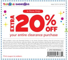 Pinned December 13th: Extra 20% off clearance at #Toys R Us #coupon via The Coupons App