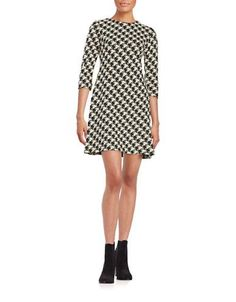 Taylor Jacquard Fit-and-Flare Dress Women's Black/Cream 8