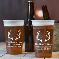 This reusable 22 ounce plastic stadium cup pairs perfectly with any country chic or rustic themed wedding with it''s 'The Hunt is Over' design. Find your personalized cups here: http://myweddingreceptionideas.com/22_oz_personalized_stadium_cups.asp