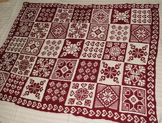 red and white fairisle sampler blanket
