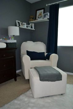 White furniture is questionable in a nursery but I like the walls..