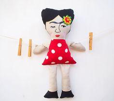 Frida Kahlo doll soft toy hand made doll FREE by MotekShop