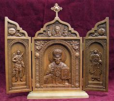 Carved-Triptych-ICON-St-Nicholas-Michael-Gabriel-Archangels
