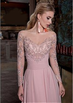 Beautiful Chiffon Jewel Neckline Long Sleeves A-line Prom Dress With Lace Appliques