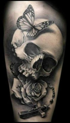 Rose And Butterfly Tattoo Skull Tattoo Flowers Butterfly Sleeve Tattoo Butterfly Tattoos For