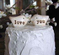 Wedding cake topperLove birds love you by SkyeArt on Etsy, $19.50