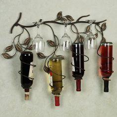 Кованная подставка для бутылок позволит создать необычный мини-бар на стене.