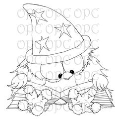 Digital Stamp Otis the Wizard by OakPondCreations on Etsy, $3.00