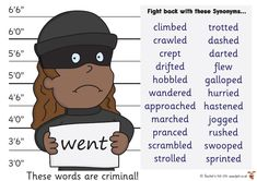 Criminal Words Mats synonyms instead of went Back To School Displays, Class Displays, Classroom Displays, Primary Teaching, Primary Education, Synonyms For Writing, Literacy Display, Ks2 Classroom, Writing Lessons