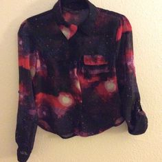 Galaxy top Sheer galaxy blouse worn once, like new, sleeves can be worn full length or rolled up with the button loop Tops Blouses
