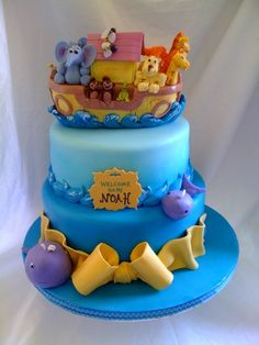 Noah's ark.  I love the whales!  Cute cake.