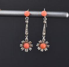 Edwardian Coral Seed Pearl Flower Drop Earrings #Pearl #Edwardian #Coral #Earrings #Silver #Sterling #Seed #intage #Flower #Classics