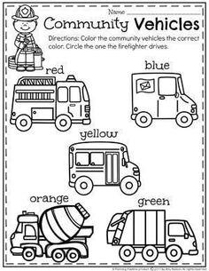 Community Helpers Unit for Preschool - Coloring Community Vehicles