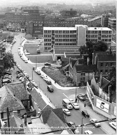 1960 - South end of Maid Marian Way from Walton House, showing modern block of People's College (Now Castle College Nottingham), and Castle Gate. Looking towards Canal St