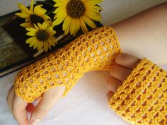 Fingerless Lace Gloves in Goldenrod Yellow. Crocheted in Cotton Thread, Original…