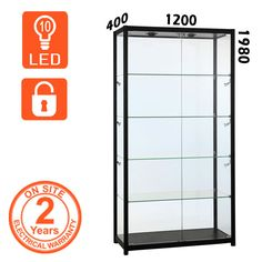 A Black Retail Display Cabinet Supplied With LED Lights And Locking Doors  As Standard. Used
