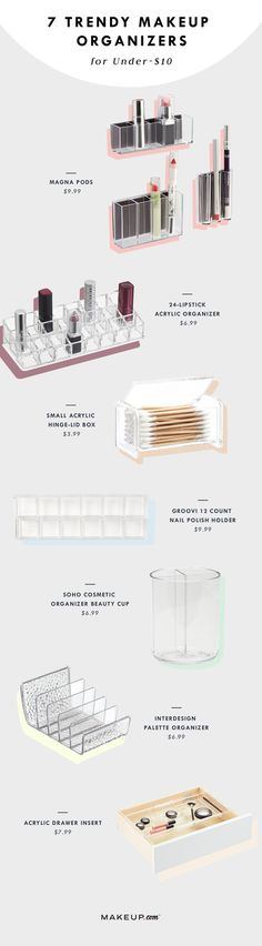 Cheap Acrylic Makeup Organizers | Makeup.com Looking for a pretty way to store all your beauty products? We've rounded up seven acrylic makeup organizers (all under $10!) to make sure all of your makeup has a home. acrylic makeup organizers , makeup organizers cheap , makeup organizers for drawers , makeup organizers acrylic , acrylic makeup organizers cheap
