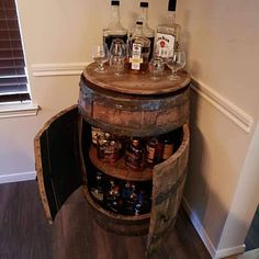 Buffalo Trace, WoodFord, Jim Beam, authentic barrels and authentic stamps from distillery. Bourbon Barrel, Bourbon Whiskey, Wine Barrel Bar, Jim Beam, Home Bar Designs, Basement Designs, Barrel Projects, Buffalo Trace, Liquor Bar