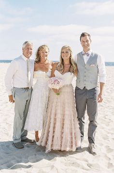 "Southern California beach wedding  I love the colors and the ""classy"" vest and bow tie2 toned dress for bridesmaid, short, colored flowers"