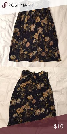 MNG by Mango navy floral tank OBO Soft & comfy Worn but in good condition Slightly sheer  Internal tag cut from being itchy Mango Tops Tank Tops