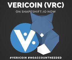 #Vericoin #Bitcoin #Cryptocurrency https://shapeshift.io