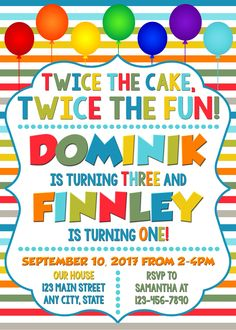 Joint Combined Birthday Party Invitation Twins Siblings Twice The Fun Sibling