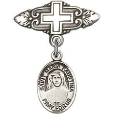 Sterling Silver Baby Badge with St. Maria Faustina Charm and Badge Pin with Cross 1 X 3/4 inches -- You can get more details by clicking on the image.