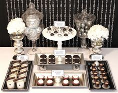 Black and White Glamorous Sweets Table. Small bites allow guests to try a bit of everything.