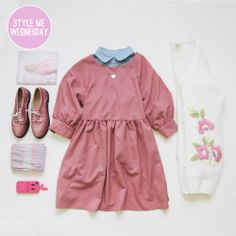Wednesday Style Me! Pops of Pink with our Button-Cuff Angel Dress and Lace-up Sparkle Brogue for a perfect casual Valentine's Day. FREE SHIPPING continues with code: HEART  <3 http://www.thewhitepepper.com/collections/valentines
