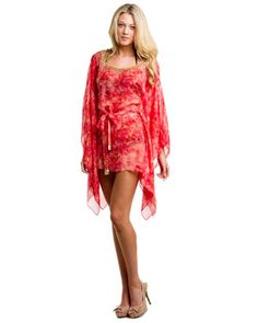 Natori Red Tie Dye Silk Short Kaftan