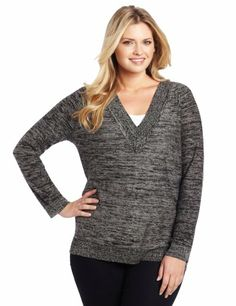 Jones New York Women's Plus-Size V-Neck Tunic Sweater « Clothing Impulse