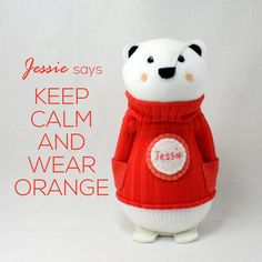 "This cutie is ""Jessie"". Jessie loves her orange sweater, it makes her think of sunsets, log fires and Autumn leaves. ""Colours are very important"" she says. Jessie loves talking with people, she is a very calming influence to have around. Whilst she knows her own mind, she loves hearing about how others think. Polar Bear Sock Doll called Jessie by  sewinthemoment on Etsy"