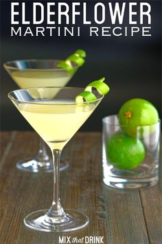 The Elderflower Martini cocktail recipe blends St. Germain liqueur with gin lime juice and just a hint of dry vermouth. Its one of those mellow but delicious cocktails thats delicious with almost any food or on any occasion. St Germain Cocktail, Cocktail Drinks, Fun Drinks, Yummy Drinks, Alcoholic Drinks, Beverages, Mixed Drinks, Craft Cocktails, Cocktails With St Germain