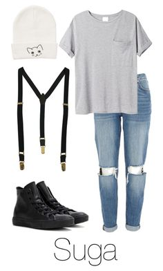 """Suga Inspired w/ suspenders"" by btsoutfits ❤ liked on Polyvore featuring River Island, AR SRPLS, Monki, Fred Perry and Converse"