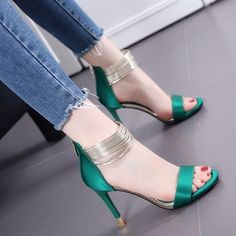 Boots are actually trendy and there is large choice from flat-heels to stilettos, wedges, and platforms, boots are whatever in between. High Heels Outfit, Strappy High Heels, Leather High Heels, Pu Leather, Strappy Sandals, Leather Sandals, Green High Heels, Bling Sandals, Sandal Wedges