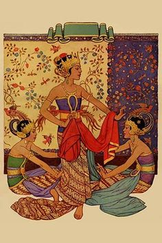 Javanese Girls Examine Fabric by Home Arts - Art Print Antique Illustration, Graphic Illustration, Fabric Painting, Fabric Art, History Of Textile, Indonesian Art, Indonesian Women, Dancing Drawings, Art Drawings