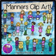 Kids demonstrating good manners Clip Art (Color & Black Line) | @resourceforce