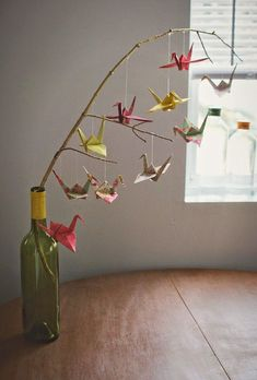 How to make a baby mobile sweet and colorful ideas - DIY Papier - Origami Origami Design, Origami Diy, Origami Paper Crane, Origami Ball, Paper Crafts Origami, Useful Origami, Paper Crafting, Origami Cranes, Paper Cranes
