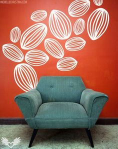 More cool decals. i love the color contrast of wall v. chair. i wanna read in that chair during naptime.