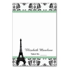 MINT GREEN Damask Eiffel Tower Tent Place Cards