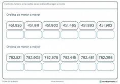 Ficha de desde el menor con números de 6 cifras para primaria
