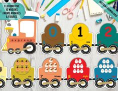 Counting train Printable Farm Counting Game Kindergarten | Etsy Preschool Special Education, Preschool Themes, Preschool Printables, Number Activities, Middle Childhood, Karaoke Party, Counting Games, Tent Cards, School Psychology