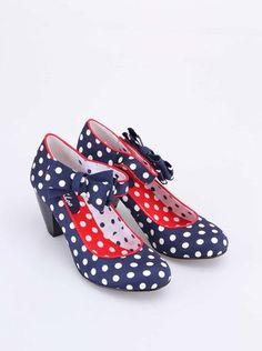 dd3d1dc3165 Ruby Shoo - Modré puntíkaté boty na podpatku s mašlí Orla - 1