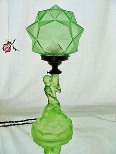 RARE Vintage Art Deco Geometric Green Depression Uranium Glass Lady Table Lamp   eBay