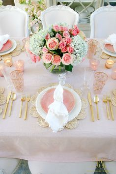Blush Table for Easter or Spring - Randi Garrett Design  Pink Blush Table for Easter or Spring - how to set a table for Easter you can use all spring - maize placemats, blush plates, floral napkins rings, gold flatware