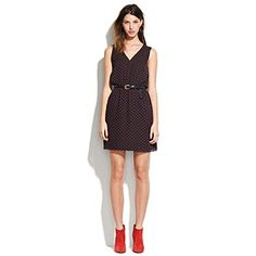 rouge-dot daydress with cute little belt and red shoes! Love Madewell!