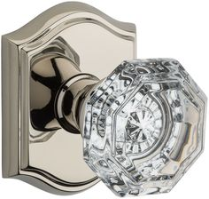 Baldwin PS.CRY.TAR Crystal Passage Door Knob Set with Traditional Arch Trim from Polished Nickel Knobset Passage