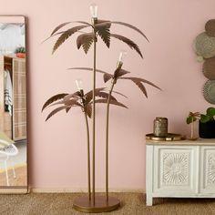 Gold Metal Palm Tree Floor Lamp H 158 cm Palmier Maisons Du Monde, Tropical Interior, Lamp, Tree Floor Lamp, Gold Metal, Tropical Leaves, Pantone Gold, Metal, Palm Trees